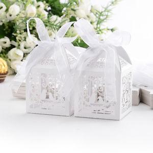 50x Boîte à dragées bonbons Oiseaux Coeur Cage blanc pour Mariage