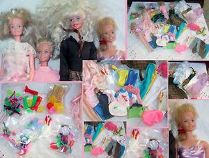 Lot de 4 Poupees Barbie avec vetements et divers accessoires + 88