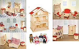 Maison de Poupées en bois, complet avec meubles pour 5 chambres
