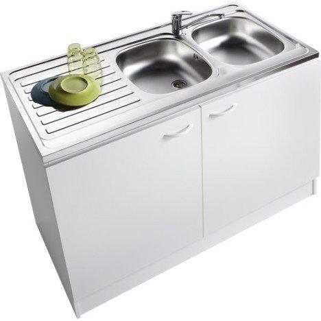 Meuble de cuisine sous évier 2 portes, blanc, h86x l120x p60cm