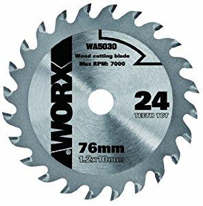 Worx WA5030 Lame de scie circulaire pour bois 24 dents 76 mm