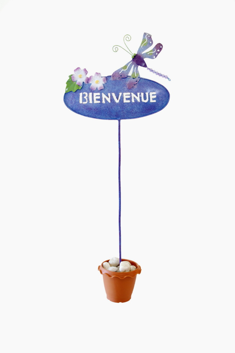 Objet decoratif 034 BIENVENUE Metal 65cm 25x1x64 cm Metal Bleu Orange