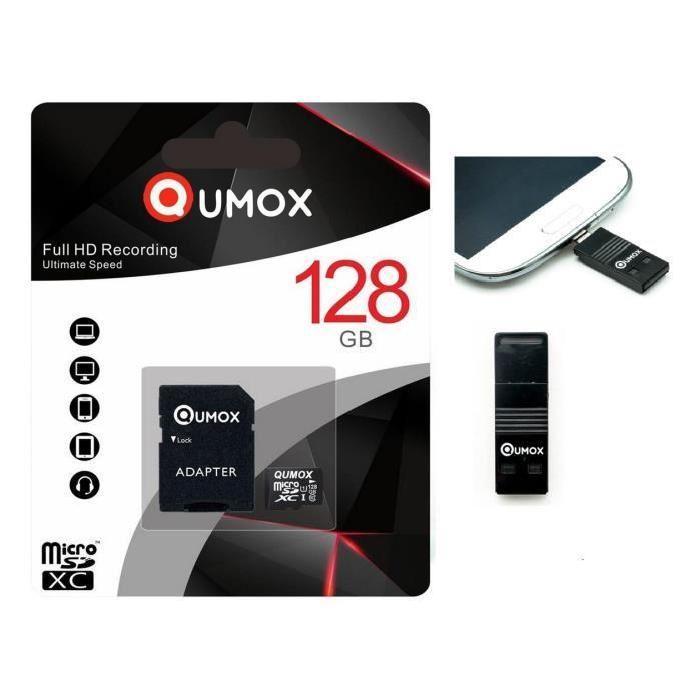 QUMOX micro SD SDXC 128 Go 128g classe 10 avec adaptateur SD emballage