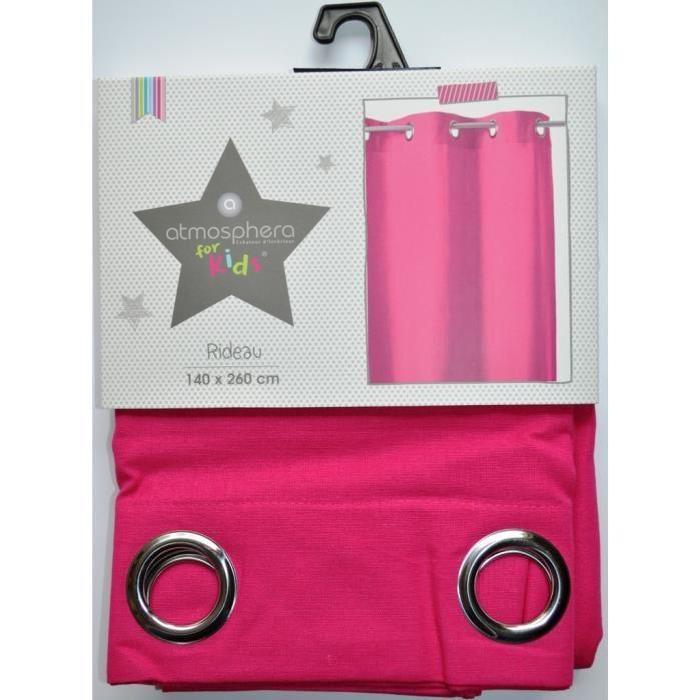 Rideau en coton rose fuchsia pour chambre enfant Achat / Vente