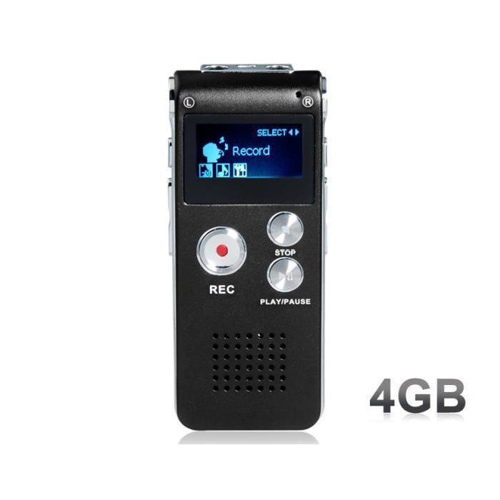MP3 de 4 Go Enregistreur vocal numérique (Noir) Cet enregistreur