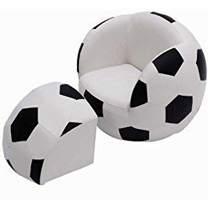 FAUTEUIL SIÈGE EN BALL POUR ENFANT AVEC POUF EN FORME DE FOOTBALL