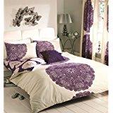 blanc violet 155x220cm + 2 taies d'oreiller 80x80cm 100 % coton