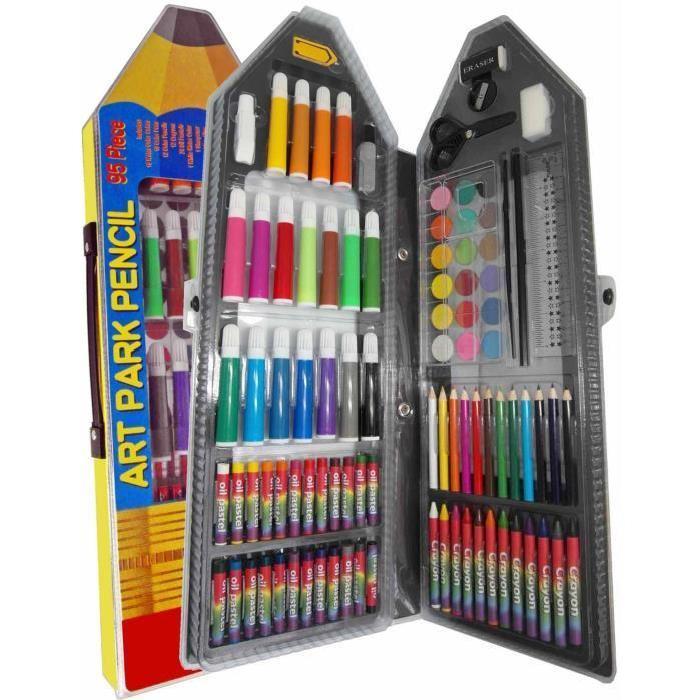 Mallette Dessin /peinture 95 Pcs Crayon Mallette Forme Crayon Dessin