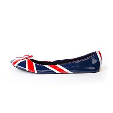 Ballerines femme pliables drapeau anglais: Chaussures et