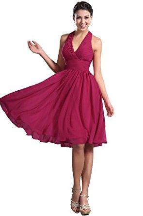 eDressit Robe de Soiree/Mariage/Ceremonie/Bapteme Rose Encolure V col