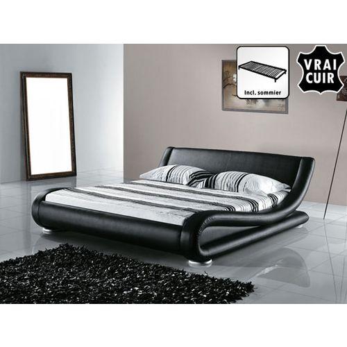 Beliani Lit design en cuir lit double 180×200 cm noir sommier