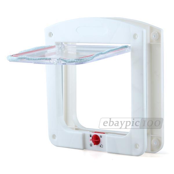 Chatière Porte en Plastique Blanc 4 Positions pour Chat