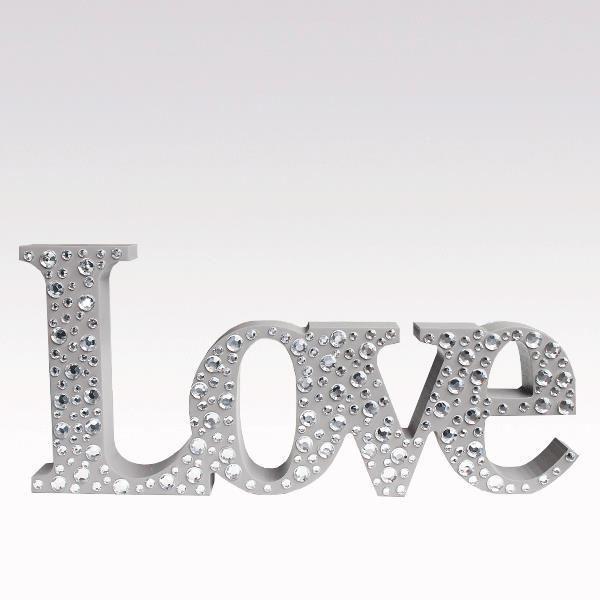 Mot déco Love taupe bois strass Achat / Vente plaque de porte Bois