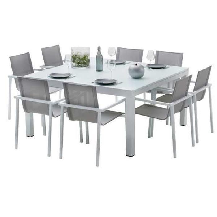 Ensemble table et chaises de jardin extensibles CARRE WHITESTAR 8