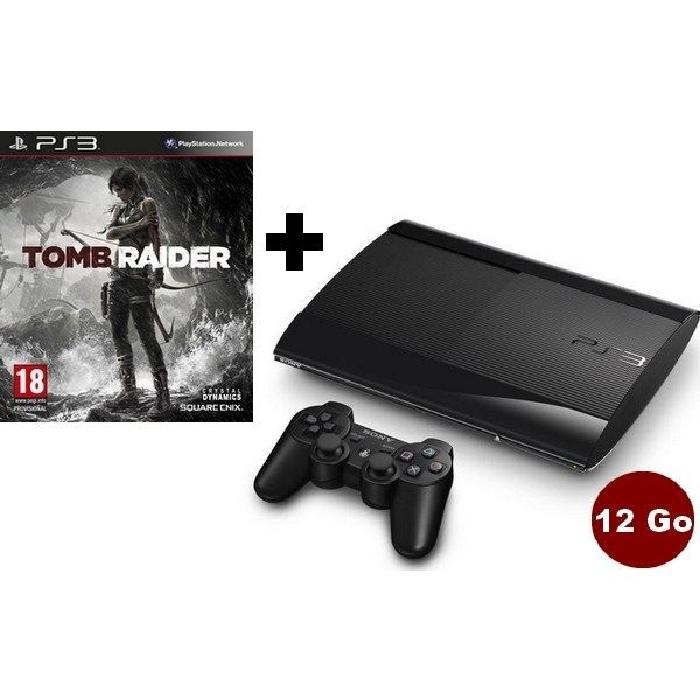 CONSOLE PLAYSTATION 3 CONSOLE PS3 SLIM NOIRE 12 GO + TOMB RAIDER