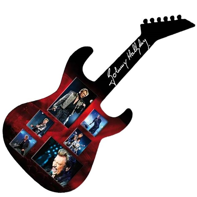 Grand cadre guitare 6 photos johnny hallyday Sud Cargo