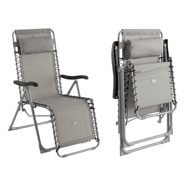 Fauteuil relax silos gris Achat / Vente fauteuil jardin Fauteuil