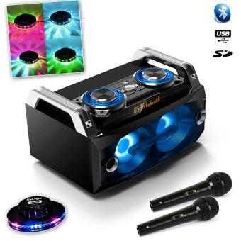 120W USB SD FM Bluetooth + 2 Micros Noir Dj karaoké + Effet UFO OVNI