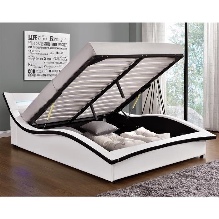 Lit Camden Structure de lit en simili blanc avec coffre et LED