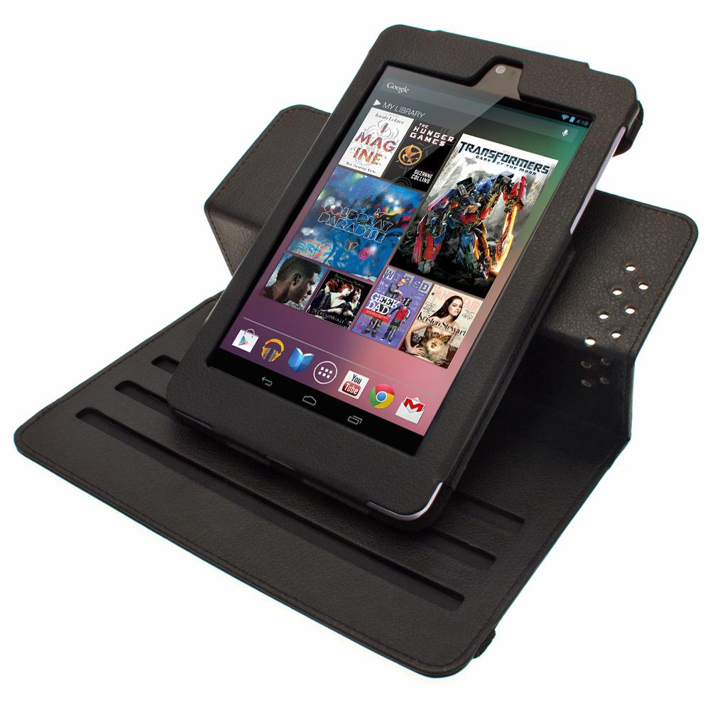 Noir PU 360 ° étui en cuir pour Google Nexus 7 Android 4.1 Tablet