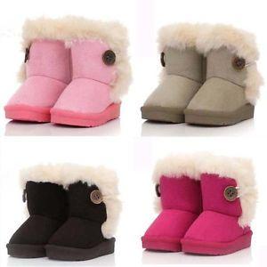 T19 20 21 22 23 Bottes Enfants Filles Bébé Chaussures Bouton Hiver