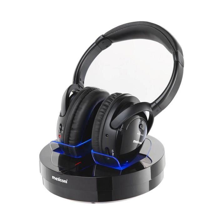 MELICONI HP300 Casque sans fil TV RF rechargeable casque écouteur