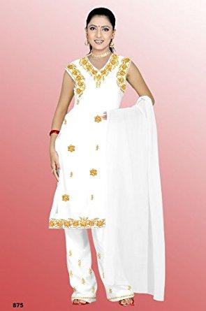Salwar Kameez Set Carnaval Sari Inde Bollywood Blanc Taille M