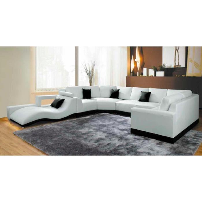 canape panoramique cuir blanc avec meridienne