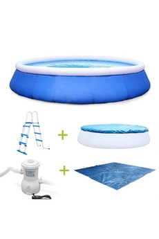 Kit piscine Emeraude Ø450x90cm gonflable bleue, autoportante ovale