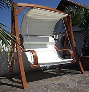 Balancelle de jardin 2 places en bois avec toit: Jardin
