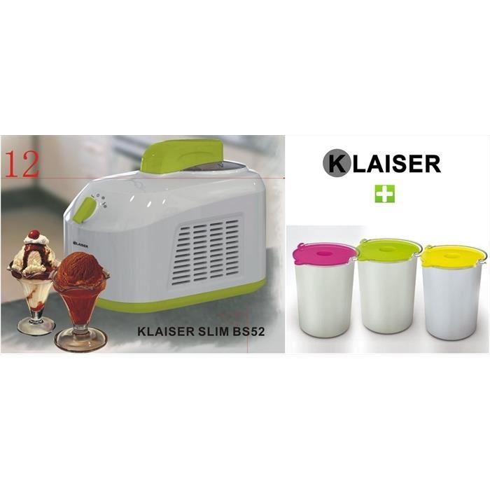 KLAISER TURBINE A GLACES SLIM COMPACTE BS52 Avec Livre 62 Recettes