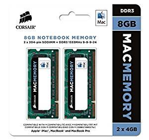 Mac 8GB (2x4GB) DDR3 1333Mhz CL9 Mémoire pour ordinateur portable