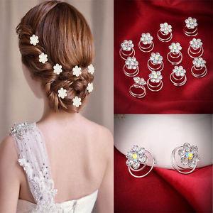 Cheveux Argent Strass Cristal Fleur Soirée Mariage Fantaisie Bijoux