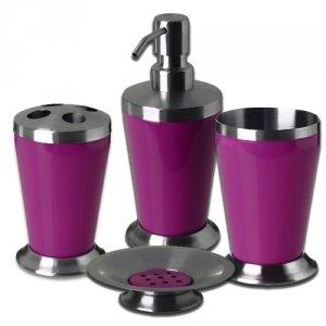 Set de 4 accessoires pour salle de bain New colours Inox Prune