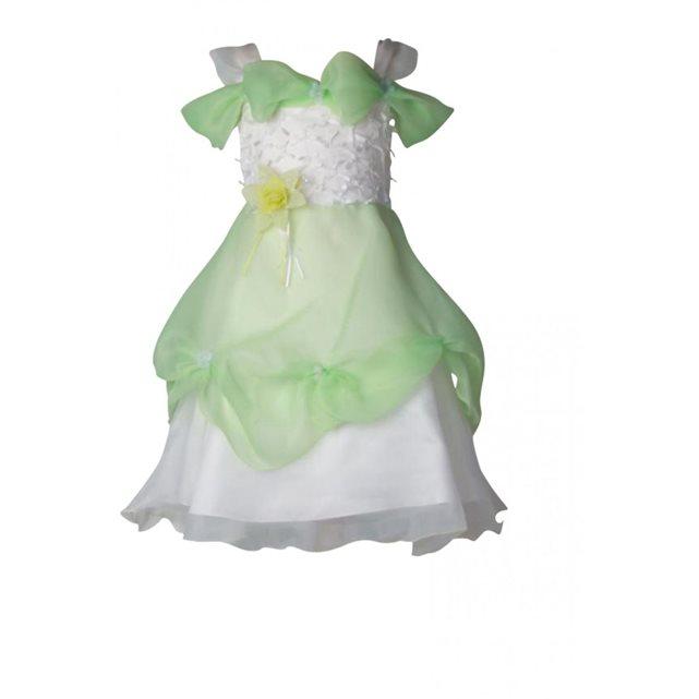 Robe de cérémonie fille sur jupe fleurs noeuds coloris blanc et vert