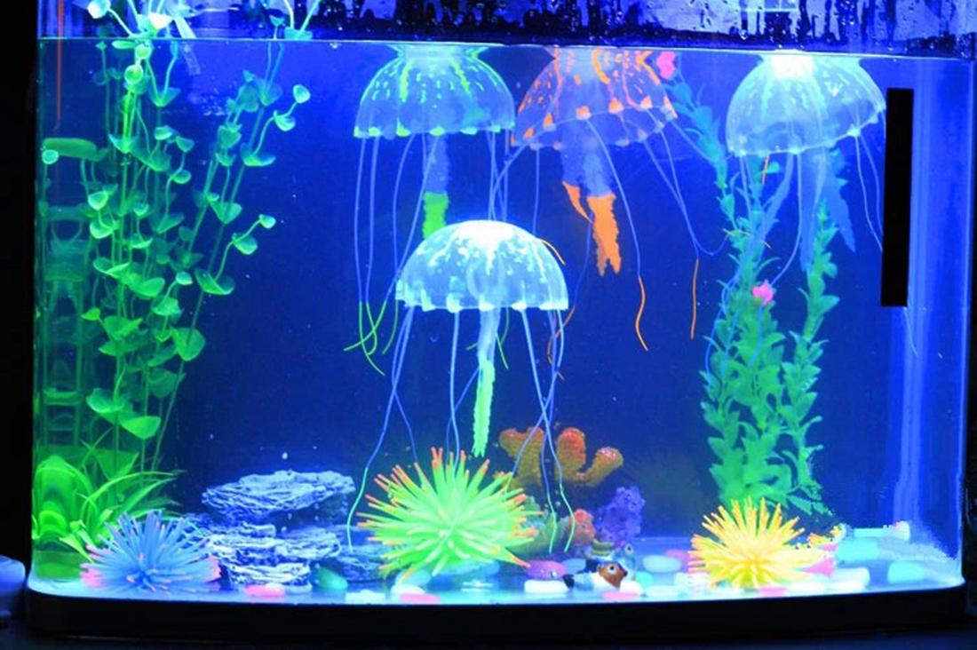 Fausse Silicone Mou Fluorescente Ornement Décor Aquarium Fish