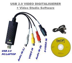 Convertisseur USB Audio Video CAPTURE VHS HI8 Camescope Magnetoscope