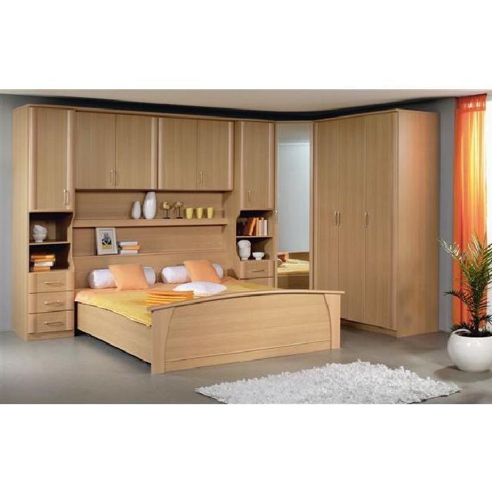 Pont de lit, lit adulte, armoire 3 portes et armoire d'angle 1 porte