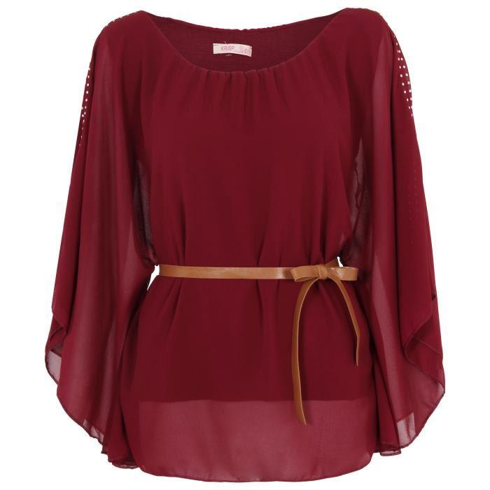 Haut Drapé Femme Voilé Ceinture PU Kimono Soirée Achat / Vente
