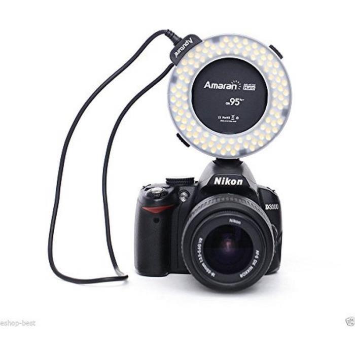 flash annulaire led CRI 95+ pour Nikon D3200 D4S D4 D3X D800