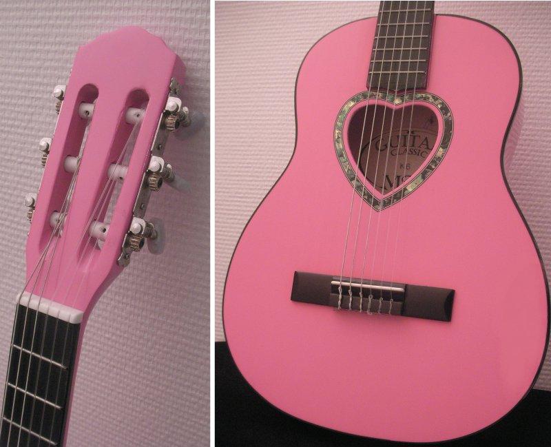 Guitare Classique 1 4 Rose Pour Enfant Rosace EN Coeur Neuve Garantie