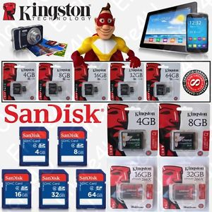 Carte memoire SANDISK KINGSTON Micro SDHC SDXC SDCA SD CF 4 8 16 32 64