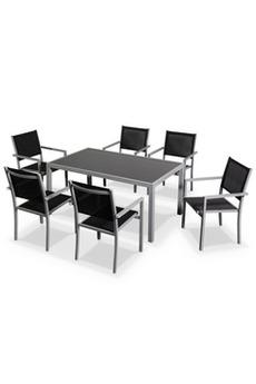 Ensemble table et chaise de jardin Salon de jardin Capua en aluminium