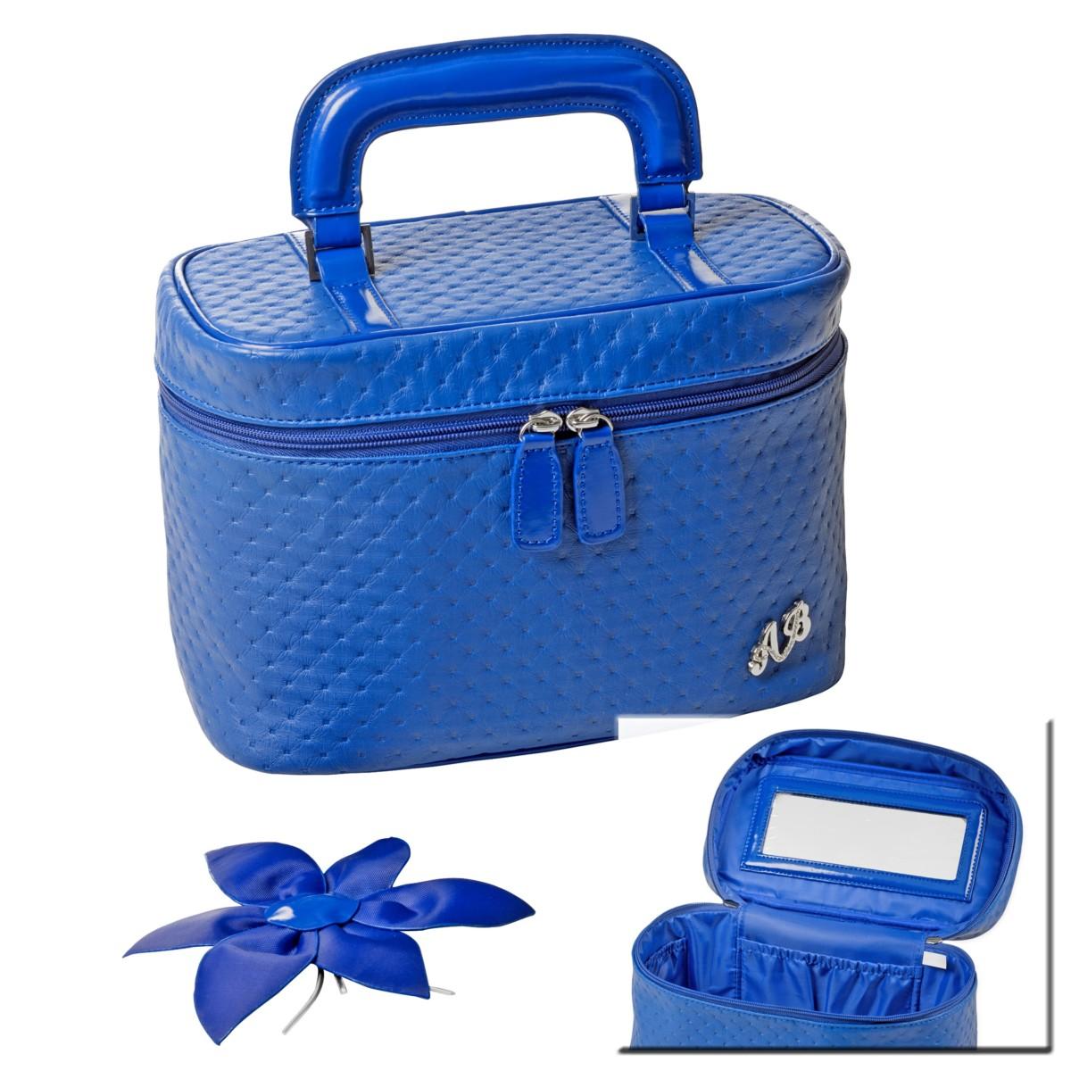Simili cuir Bleu Vanity Case Maquillage Cosmétique De Toilette Sac