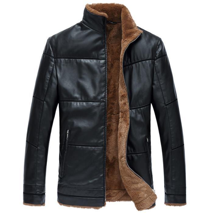 manteau homme PU cuir veste blouson chaud en hiver plus grande taille