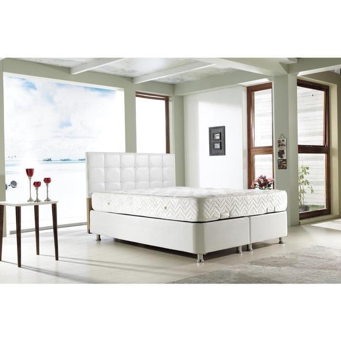 PERLA Lit Coffre BLANC 160×200 cm avec Sommier + Tete de lit Capitonne