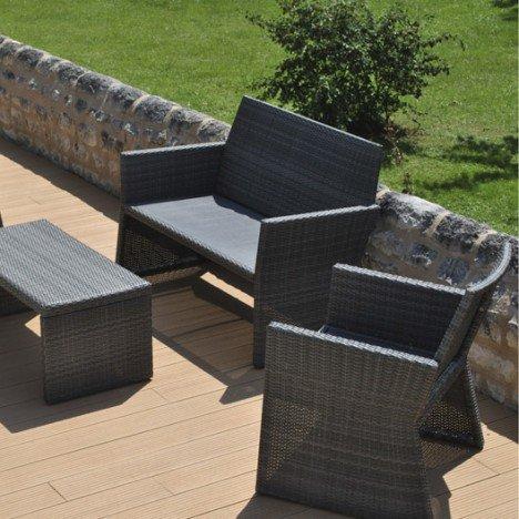 Salon de jardin aluminium gris - TopiWall
