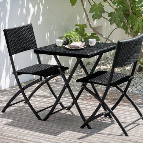 table + 2 chaises Nombre de convives : 2 Couleur(s) de la table : Noir