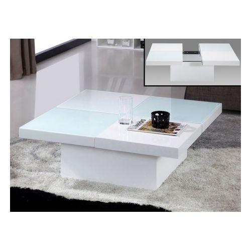 Vente unique Table basse Calisto avec coffre Verre trempé et Mdf