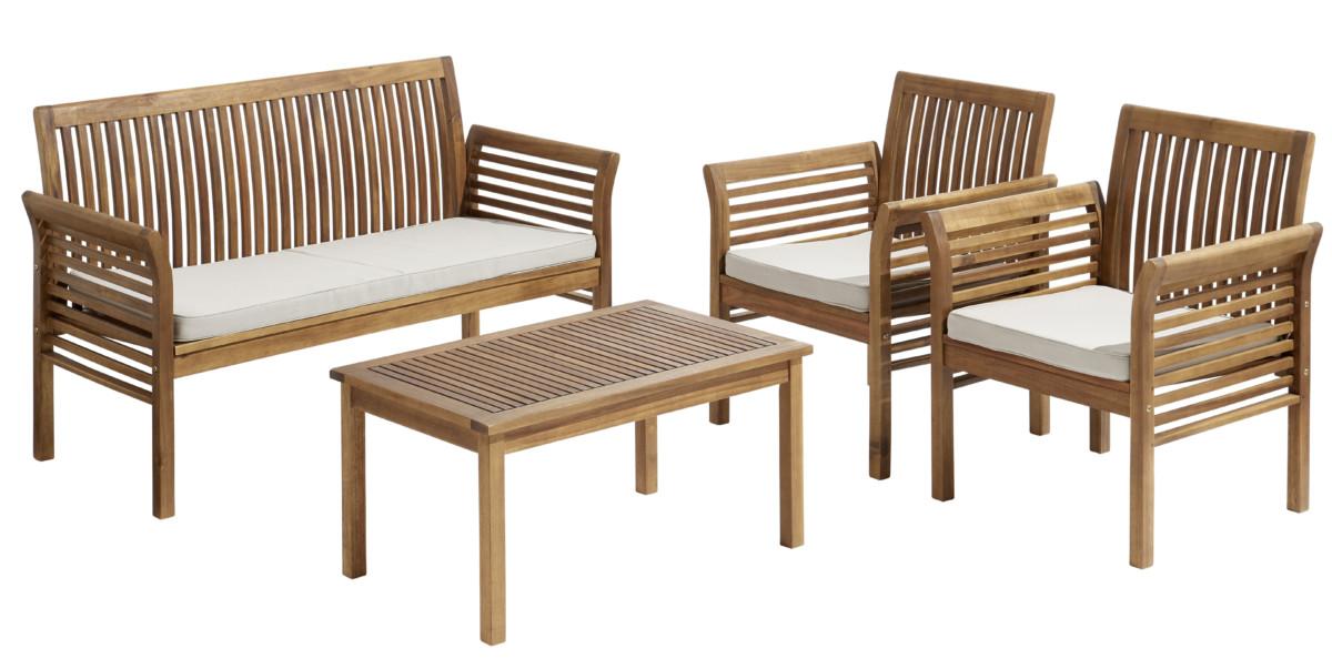 Salon de jardin HanoÏ 1 table basse + 1 sofa + 2 fauteuils Bois
